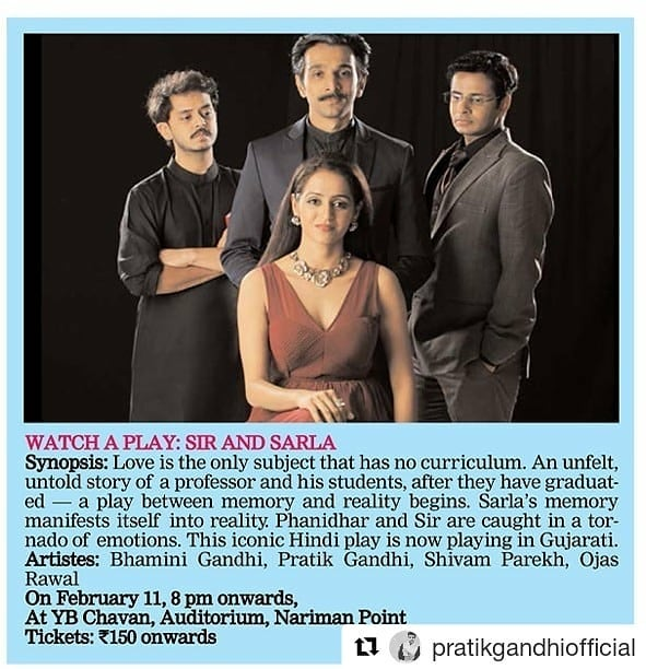 After super-successful Surat tour, the play returns to Mumbai. Next show TOMORROW!  Saturday, 11-Feb | 8pm | Chavan Auditorium, Nariman Point, Mumbai. Come, experience the poetry of love 💕  #SirSirSarla #MakarandDeshpande #Play #theatre #stage #show #love #poetry #relationships #emotions #smiles #tears #joy #life #professor #students #reality #ad #press #hindi #gujarati #adaptation #instapic #repost #relation #emotion #theater #ojasrawal #tomorrow #Mumbai  @mindworkzmediaconsultant @kajalgb @theatre.n.i @mumbaitheatre @gujarati.filmindustry @vishwagujarat @mumbai_igers @things2doinmumbai @mumbaievents @theasianage
