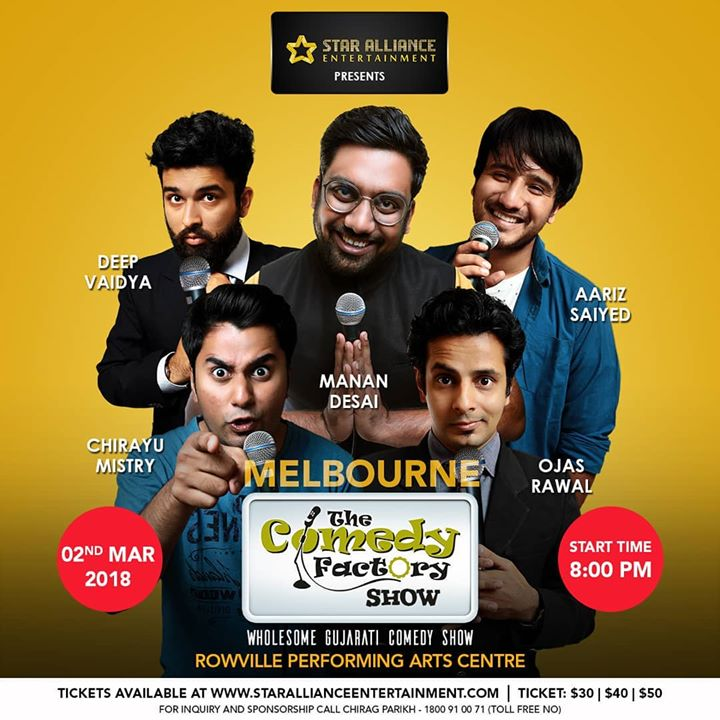 Melbourne TONIGHT 🇦🇺 Making people laugh with The Comedy Factory's heroes Manan Desai, Aariz Saiyed, Chirayu Mistry & Deep Vaidya 😎  ・ Full family entertainment for every #Gujju!Spread the word and tag all your friends and family in Australia ! ・・ Few seats left! Book now before it gets sold out! ・・・ >>> Tickets at: www.starallianceentertainment.com <<<  @thecomedyfactoryindia @instafunny_manan @aarizsaiyed @nautankideep @chirayu_m @vidyajanakiraman @allinoneentertainmentandevents @usf__alumni @gujarati_world_association @gujaratiworldassociation  #Melbourne #show #tonight #tcf #thecomedyfactory #gujarat #australia #standupcomedy #improv #humor #comedian #jokes #funny #lol #straya #aussie #aus #tonite #standupcomedian #humor #yes #excited #awesome #bethere #usfalumni #usfworld #love #ilovemywork #lovemyjob