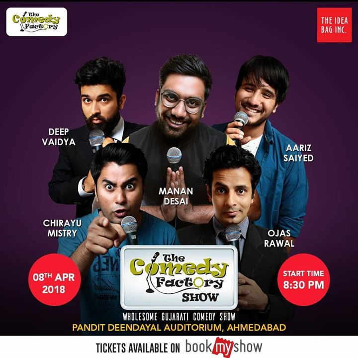 AHMEDABAD, are you ready? 😎 wholesome Gujarati Show of Stand-up, Improv & Musical Comedy that toured Australia and is going to the US this month is coming to your town! 👍 This Sunday at 8:30 PM at Pandit Deendayal Auditorium!  GRAB YOUR TICKETS NOW!   https://in.bookmyshow.com/events/the-comedy-factory-show/ET00072542  Tearing you to shreds with laughter will be , Manan Desai, Aariz Saiyed, Chirayu Mistry, Deep Vaidya and Yours Truly 😇  #Ahmedabad #comedy #show #sunday #areyouready #thecomedyfactory #tcf #comedians #OjasRawal #MananDesai #AarizSaiyed #ChirayuMistry #DeepVaidya #gujarati #standup #improv #funny #hilarious #dontmissit #lol #fun #comedian #poster #gujarat #amdavad #greatshow #awesome #masti #amazing #entertainment The Comedy Factory The Idea Bag Inc
