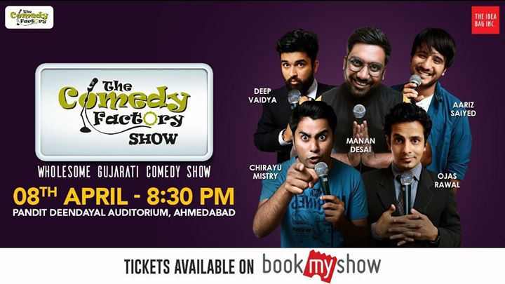 AHMEDABAD, are you ready? 😎 wholesome Gujarati Show of Stand-up, Improv & Musical Comedy that toured Australia and is going to the US this month is coming to your town! 👍 This Sunday at 8:30 PM at Pandit Deendayal Auditorium!  GRAB YOUR TICKETS NOW!   https://in.bookmyshow.com/events/the-comedy-factory-show/ET00072542  Tearing you to shreds with laughter will be Manan Desai, Aariz Saiyed, Chirayu Mistry, Deep Vaidya and Yours Truly 😇  #Ahmedabad #comedy #show #sunday #areyouready #thecomedyfactory #tcf #comedians #OjasRawal #MananDesai #AarizSaiyed #ChirayuMistry #DeepVaidya #gujarati #standup #improv #funny #hilarious #dontmissit #lol #fun #comedian #poster #gujarat #amdavad #greatshow #awesome #masti #amazing #entertainment