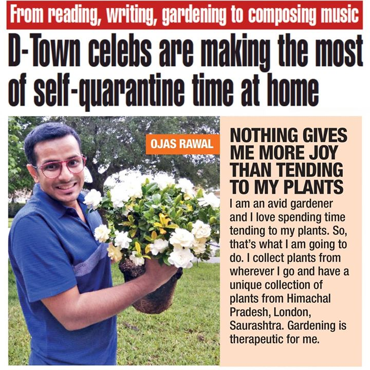 In the papers today!🗞 Quarantine time spent well... safely and solitarily 💁‍♂️ Thank you for the article @ahmedabadtimestoi @abhimanyu5454  . #quarantine #coronavirus #gardening #selfquarantine #newsarticle #newspaper #times #timesofindia #media #article #ahmedabadtimes #ahmedabad #gujarat #gujarati #mumbai #ojasrawal #ojas #actor #comedian #entertainment #celebs #showbiz #actors #printmedia #newspapers #corona #covid19 #gardener #ilovegardening #hobby @ Mumbai, Maharashtra