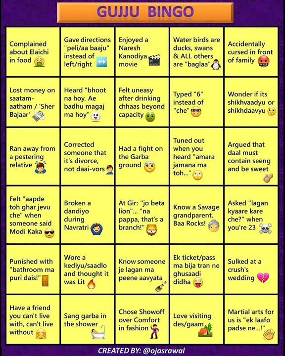 Feel free to use, tag, play 😄 Gujarati-fying everything during quarantine time 😜 I had fun creating it; you have fun playing it! . #Bingo #game #gujarati #version #ojasrawal #gujjubingo #gujaratibingo #online #games #bingogame #bingocard #gaming #gamenight #gametime #stayhome #staysafe #quarantine #selfquarantine #corona #cardgames #ojas #quarantineandchill #quarantinelife #coronavirus #gujjucomedy #funny #gujju #desi #desigujju #gujjudesi