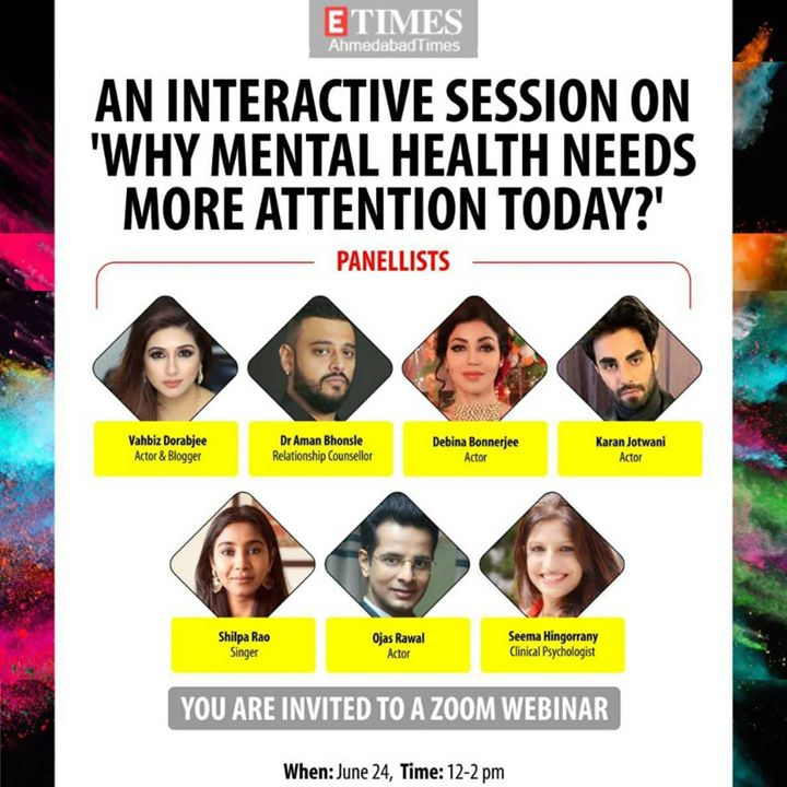 Excited to be PANEL MODERATOR for this eclectic forum of luminaries! ✨ Join us tomorrow at noon (details below) for a discussion which we, as humankind, cannot postpone any longer 🙇‍♂️ ETimes TV Ahmedabad Times Vahbiz Dorabjee Dr. Aman Bhonsle Debina Bonnerjee Karan Jotwani Shilpa Rao Seema Hingorani . Zoom Meeting ID: 87016076382 Password: 565927 . #MentalHealth #awareness #paneldiscussion #VahbizDorabjee #AmanBhonsle #DebinaBonnerjee #KaranJotwani #ShilpaRao #OjasRawal #SeemaHingorrany #mental #health #help #letstalk #webinar #talk #issues #wellness #healthcare #psychology #motivation #inspiration #mentalillness #mentalhealthmatters #inspiration #mindset #therapy #lifestyle #stayhome #staysafe