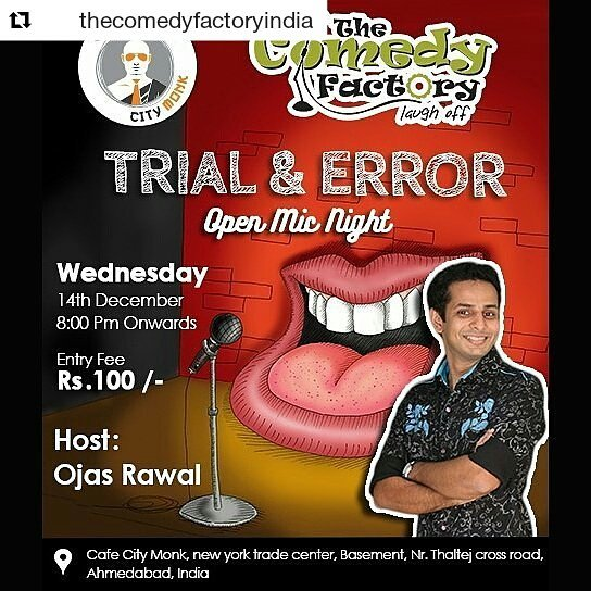 Got humour, #AHMEDABAD? 👅 Then come to CAFÉ CITY MONK @cafecitymonk at 8pm tonight!... for the Open Mic... the Trial-n-Error of comedy with amateur comics & veterans too! 😎 Great entertainment! Great venue! Great prices!!! 🙌 Tickets available @ Venue. Limited Seats. Call 9879113983 for details. Brought to u by @thecomedyfactoryindia  @chirayu_m @raval.bhavik @chaula.doshi @karanvyas11 @ahmedabad_instagram @gujarat_insta @instagram_gujarat @instagram_ahmedabad #comedy #standup #gujarat #gujju #gujarati #openmic #funny #hilarious #fun #cafe #show #stage #performance #lol #laugh #comedian #comiclife #nightlife #humor #comedians #india #mumbai #tcf #entertainment #showbiz #vadodara #surat #standupcomedy #fun #humour