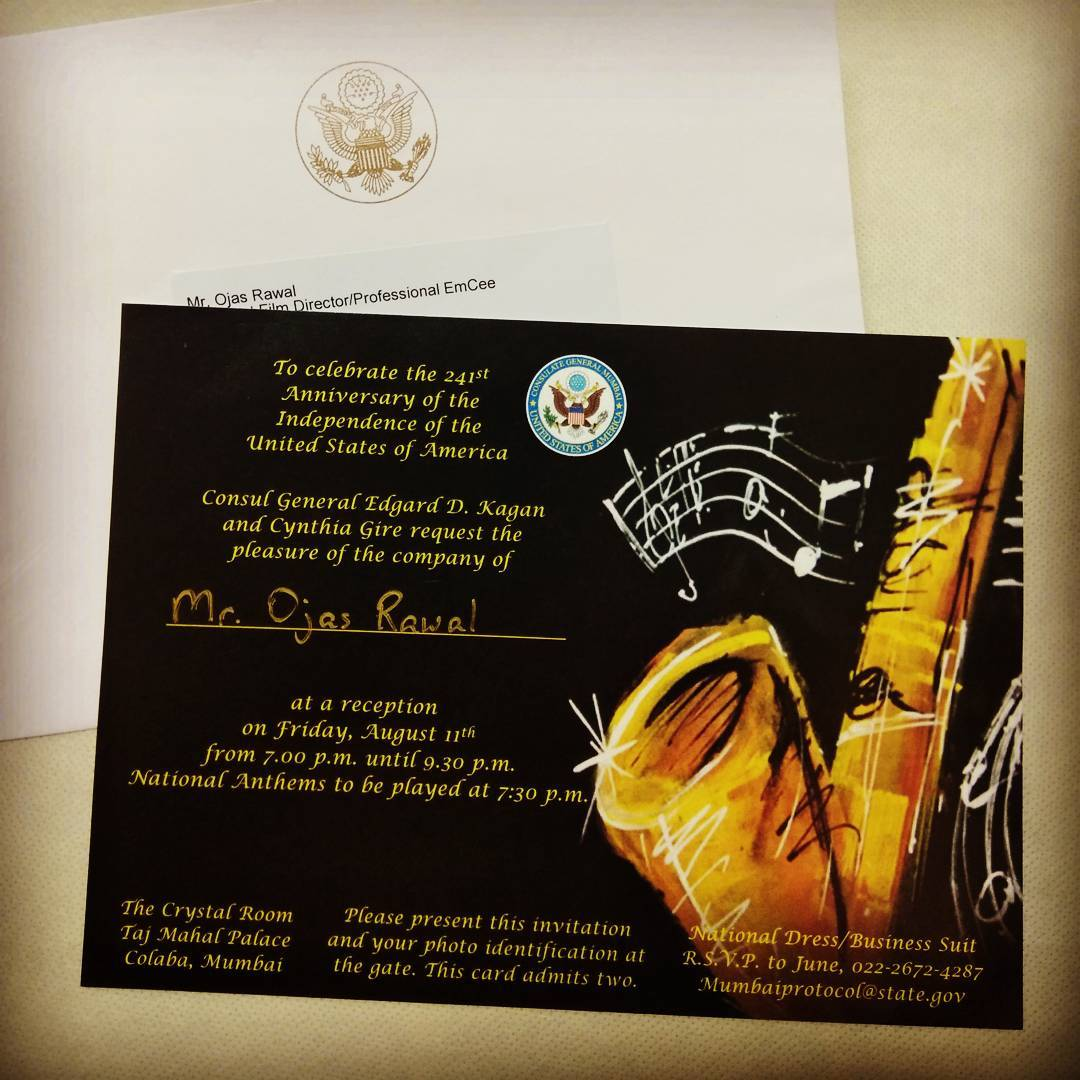 Had always dreamt of going to The Taj Mahal Palace Hotel @tajmahalmumbai! 😍 Nearly 13 years of a relationship with the U.S. Consulate, Mumbai 💐 Honoured, elated, excited!  #invitation #taj #thetajmahal #mumbai #usconsulate #usa #unitedstates #unitedstatesofamerica  #nationalday #independenceday #celebration #letsdothis #emcee #actor #gujarati #amazing #hotel #guest #celebrations #epic #event #food #awesome #music #dress #excited #lucky #fun #guests #invite  @usf__alumni @usfstudentgov @usouthflorida @leoclubs @lionsclubsindia @gifa2017 @chaalogujarat @colorsgujaratiofficial @lifeok