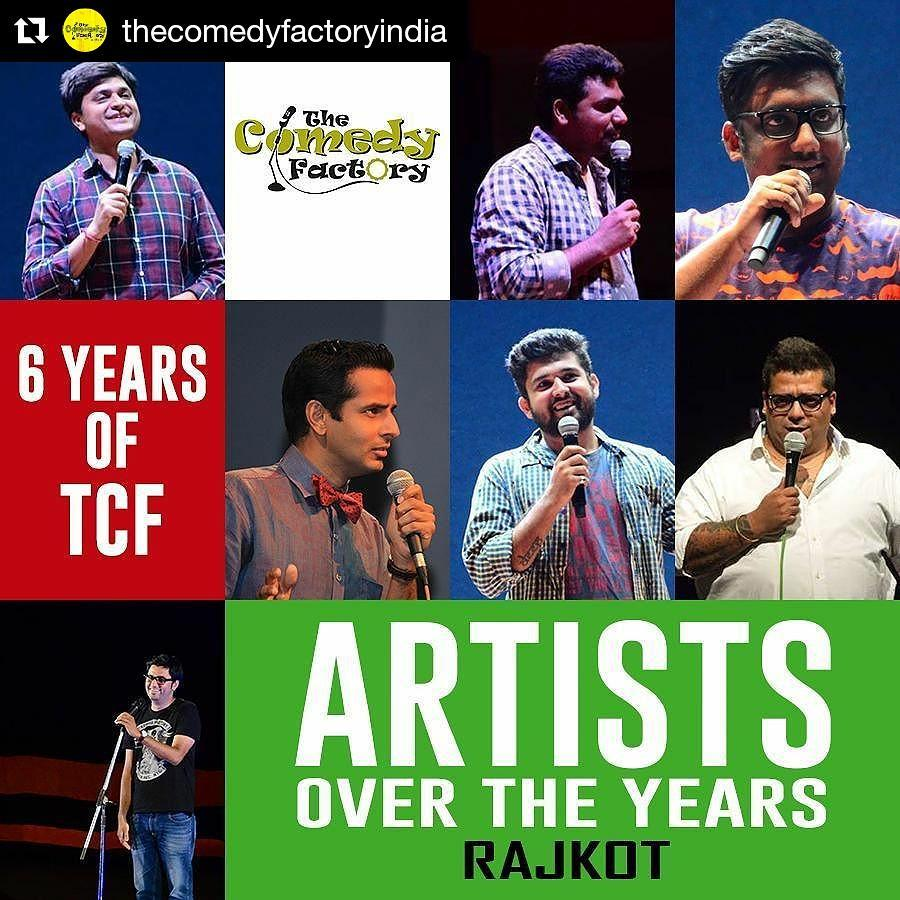RAJKOT, what an honour to have performed at my birthplace! 😇 HAPPY 6th BIRTHDAY to The Comedy Factory!  #rajkot #birthplace #tcf #thecomedyfactory #happy #birthday #wishes #celebration #ojasrawal #manandesai #chirayumistry #deepvaidya #zakirkhan #jeeveshuahluwalia #vipulgoyal #standupcomedy #comedian #comic #stage #show #gujarat #gujarati #gujju #audience #people #love #fun #memories #collage