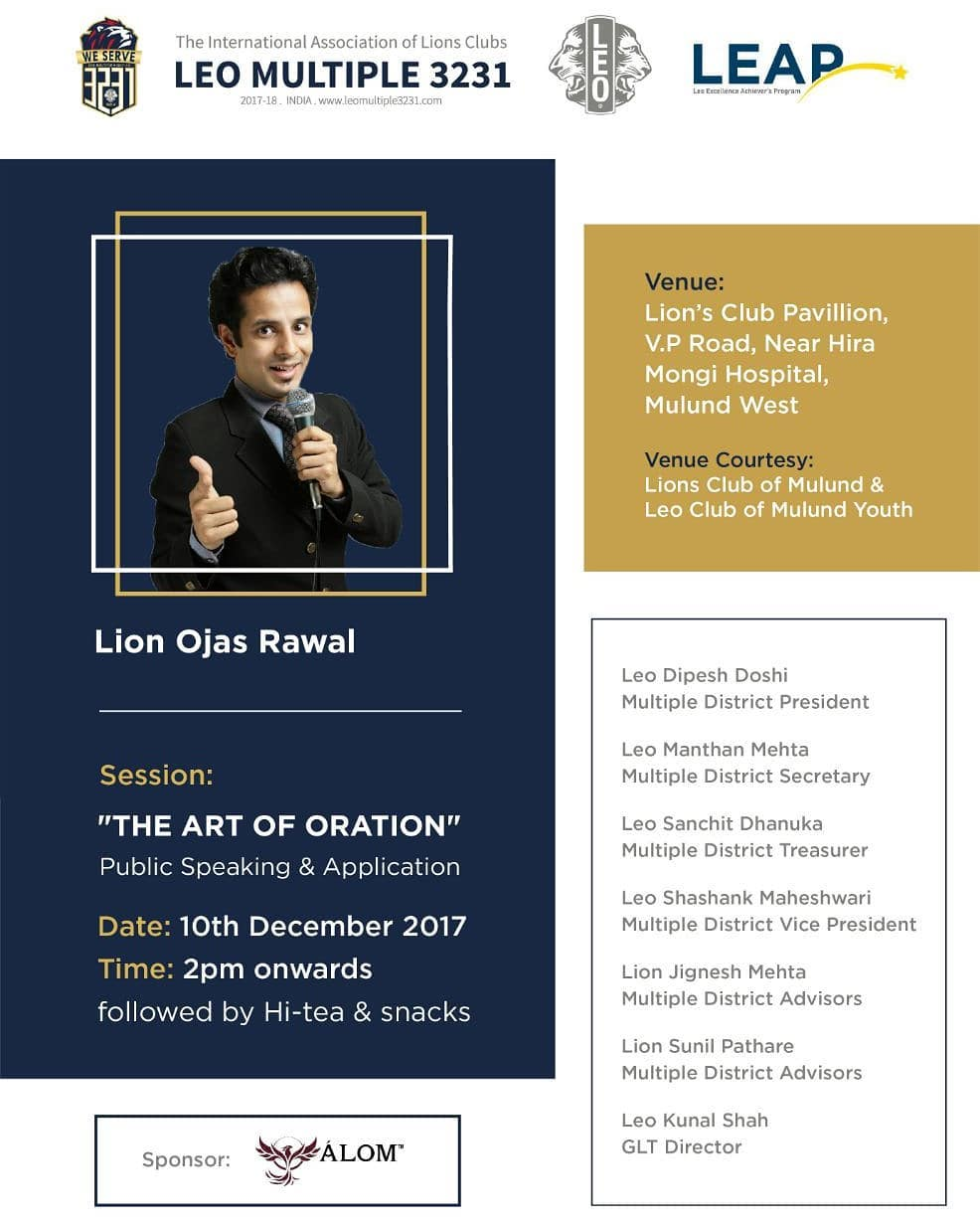 Ojas Rawal,  PublicSpeaking, Art, Stage, seminar, workshop, series, youth, group, training, event, today, toastmasters, mumbai, learn, success, skills, learning, howto, speaker, guide, speech, audience, talk, speak, leadership, trainer, speak, coach, communication, guidance
