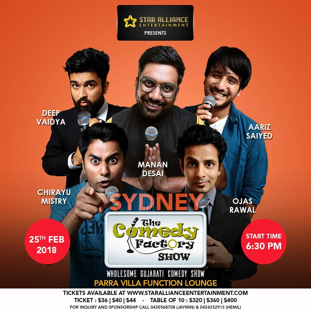 SYDNEY tonight! With The Comedy Factory's @instafunny_manan @chirayu_m @aarizsaiyed @nautankideep 😎 🇦🇺 A wholesome Gujarati Comedy Show for all age groups. Power-packed 120 Minutes of Stand-Up Comedy, Improv Comedy & Musical Comedy.  Hurry, ONLY few tickets left 😊 @thecomedyfactoryindia  #Sydney #australia #india #gujarat #comedy #show #tour #gujarati #gujju #aus #aussie #aussiesofinstagram #brisbaneart #australiagram #australian #international #trip #poster #ojasrawal #hey #mate #mast #standupcomedy #improv #musical #standupcomedian #comiclife #comedian #masti #entertainment  @gujjufilms @usf__alumni @usfhonors @shemarooguj @sydney