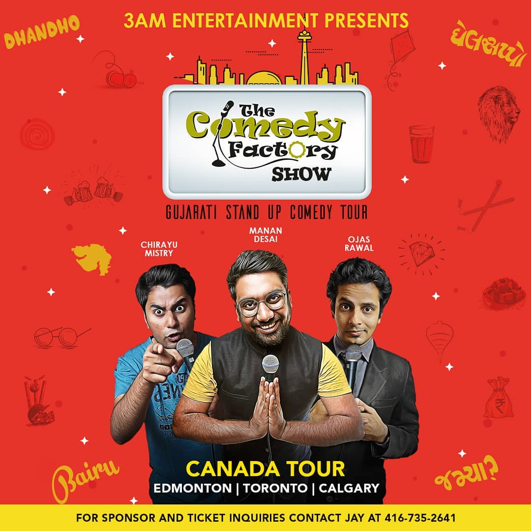 After a fantastic USA tour, we now head to CANADA 🇨🇦 ! Performing this weekend at ⬇️ 25th May, Friday - Edmonton 26th May, Saturday - Toronto 27th May, Sunday - Calgary 😎 Grab Your Tickets NOW! >>> TICKET LINK IN BIO <<< #canada #tour #edmonton #toronto #calgury #weekend #shows #comedy #standup #improv #OjasRawal #MananDesai #ChirayuMistry #tcf #thecomedyfactory #new #poster #stage #show #desi #gujju #gujarati #gujarat #funny #hilarious #canadian #india #standupcomedy #comedian #comiclife