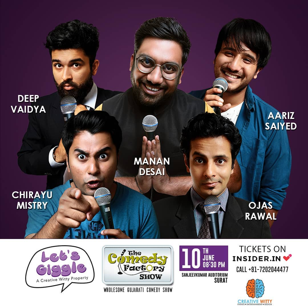 SURAT, are you ready? 😎 Full family entertainment show coming to your city on SUNDAY 10th June at 8:30pm in SanjeevKumar Auditorium 👍 I'm performing standup, improv & musical comedy with comic giants @instafunny_manan , @aarizsaiyed , @chirayu_m and @nautankideep ▶️ Book your tickets now: TICKET LINK IN BIO!  #Surat #comedy #show #june #standupcomedy #improv #musical #humour #entertainment #event #poster #thecomedyfactory #comedian #OjasRawal #MananDesai #AarizSaiyed #ChirayuMistry #DeepVaidya #tcf #gujarat #gujarati #gujju #funny #hilarious #stage #performance #comedians #dontmissit #bethere