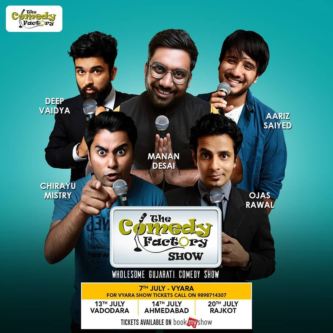The Comedy Factory tours Gujarat this JULY! Get ready for our wholesome Gujarati show with Stand-up, Improv & Musical comedy 😍 Manan Desai, Aariz Saiyed, Chirayu Mistry, Deep Vaidya and I will be performing on: 📅 7th July - VYARA 13th July - VADODARA 14th July - AHMEDABAD 20th July - RAJKOT 📌 GRAB YOUR TICKETS NOW! To get the tickets for Vyara show, call on 9898714307. Tickets for Ahmedabad, Vadodara & Rajkot shows are available on BookMyShow at <<<LINK IN BIO>>> @ahmedabadtimestoi @lol_gujarati @guj.jalso @gujarat_insta @shemarooguj @ahmedabadmirrorofficial @barodamirror @instagram_rajkot @vadodarabaroda @gujju.chu #gujarat #ahmedabad #vadodara #baroda #rajkot #vyara #comedy #show #standup #improv #musical #comedians #gujarati #gujju #thecomedyfactory #tcf #manandesai #chirayumistry #aarizsaiyed #deepvaidya #katko #liveshow #stage #show #dontmissthis #hurry #bookmyshow #lol #funny #standupcomedy