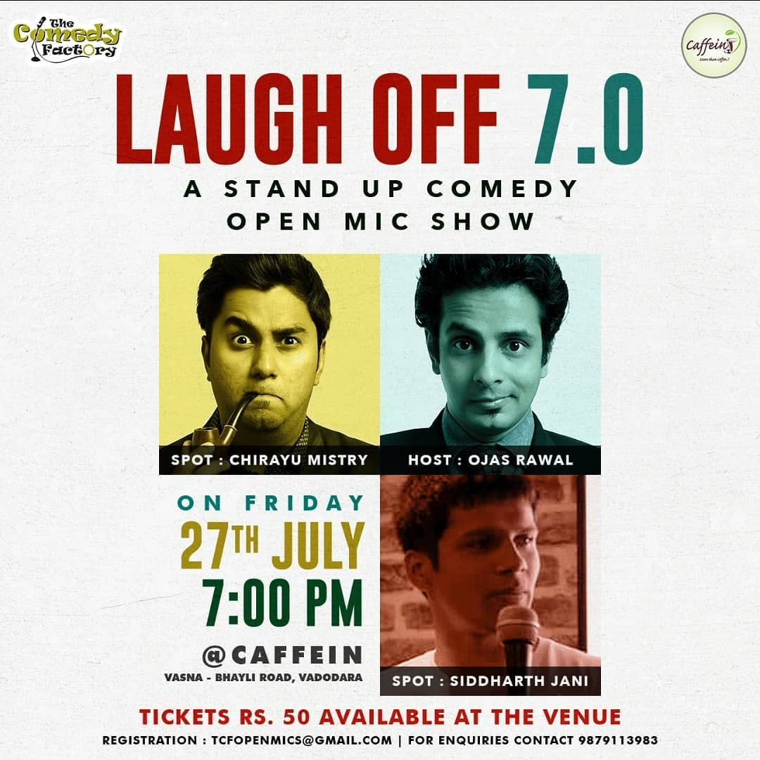 Hosting an open mic TONIGHT in BARODA! I'd never imagined that chacha-bhatija will be on the same poster 😁 this'll be the first time I'll watch my nephew Siddharth Jani @sid_jani perform 😏 i'm proud, and skeptical, and hopeful, and anxious!! Also: spot performance by Chirayu Mistry @chirayu_m and many new utsaahi comics! 7pm @ Caffein, Vadodara  @chirayu_m @thecomedyfactoryindia @caffein_baroda @ourvadodara #baroda #vadodara #poster #new #show #openmic #today #comedy #standup #comedians #openmicnight #gujarat #gujarati #gujju #ojasrawal #chirayumistry #tcf #thecomedyfactory #funny #lol #tonight #tonite #evening #friday #weekend #comedian #standupcomedian #entertainment #showbiz #laugh