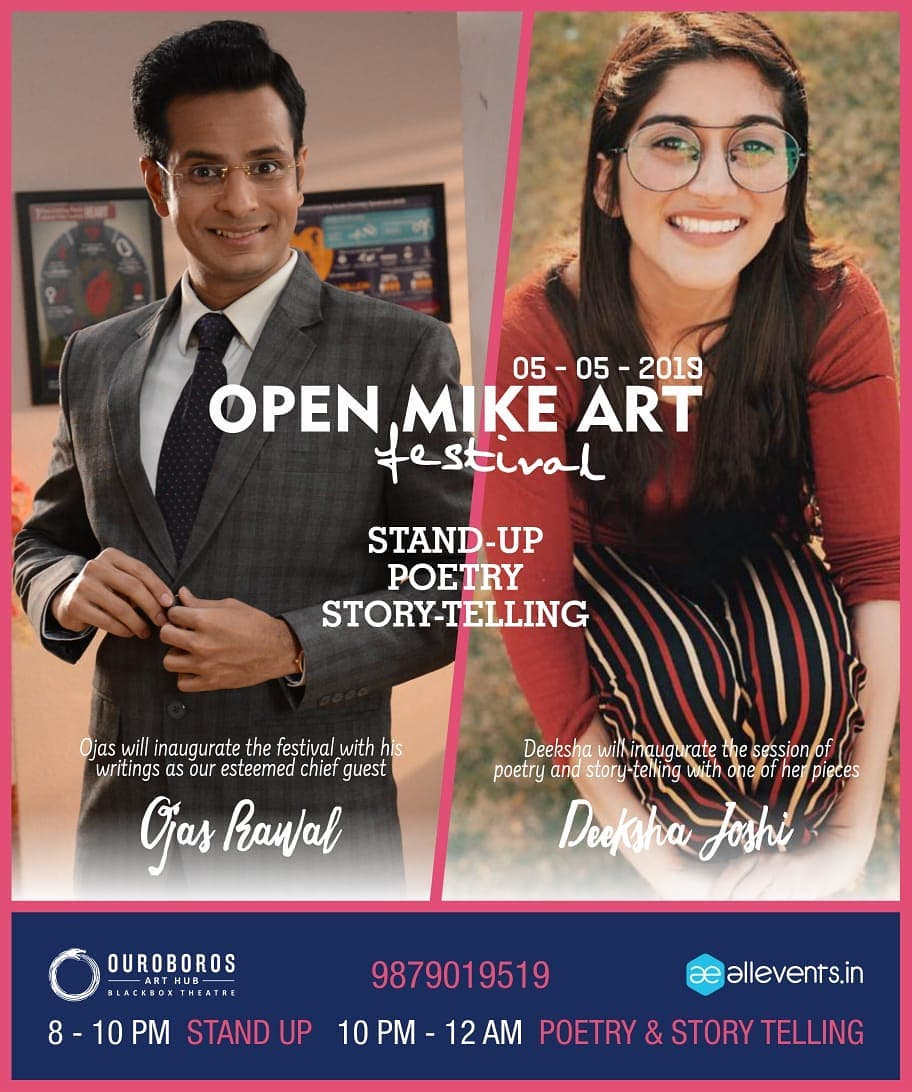 Ahmedabad! This SUNDAY, enjoy a unique FESTIVAL of Poetry, Storytelling & Comedy! 😍 I'll be inaugurating the evening with the stupendous Deeksha Joshi @deekshajoshiofficial 🤘 Hurry, book your seats! 8pm @ Ouroboros Art Hub . #openmic #festival #event #show #Ahmedabad #gujarat #gujarati #gujju #actor #comedian #OjasRawal #actress #DeekshaJoshi #poet #storytelling #comedy #poetry #ouroboros #theatre #art #poets #comedians #actors #theater #seeyouthere #amdavad #stage #standupcomedy #sunday #bethere @oah.abad @otc.abad @middaygujarati @openmikeart @ahmedabadtimestoi @ahmedabadmirrorofficial @sandeshnews @divyabhaskar_in @ourahmedabad