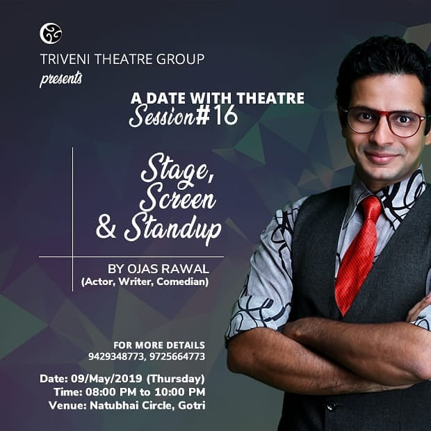 Tonight @ VADODARA! Sharing my story with theatre enthusiasts and conducting a session on some unique techniques of performance 🎭 @triveni_theatre_group . #theatre #workshop #session #baroda  #tonight #gujarat #students #artists #thespian #theater #evening #vadodara #gujarati #gujju #OjasRawal #actor #poster #portrait #today #ojas #thursday #thursdaythoughts #acting #speaker #performance #actingcoach #arts #ilovetheatre #actorlife #theatrelife