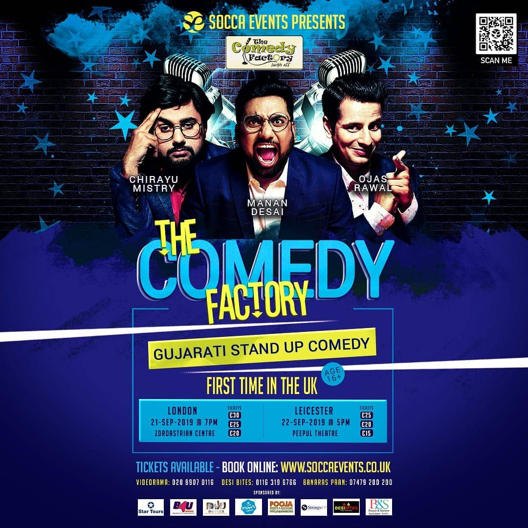 Performing in UK this weekend 🇬🇧 London on 21st and Leicester on 22nd. The Comedy Factory, for the first time ever, in England presenting standup and improv comedy. . #TheComedyFactory #OjasRawal #MananDesai #ChirayuDesai #london #england #uk #comedians #standup #improv #show #leicester #uktour #uktrip #2019 #letsgo #englandtrip #standupcomedy #improvcomedy #comedian #standupcomedian #gujarati #gujju #gujrati #ojas #tcf #tour #poster #travellife #comiclife @thecomedyfactoryindia @soccaevents @instafunny_manan @chirayu_m