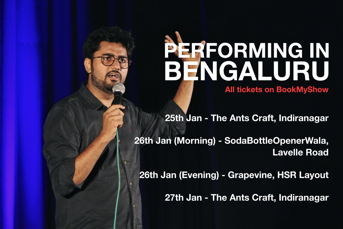 RT @chirayu_m: Performing in Bengaluru till Sunday. Dost-Parivaar ko saath lete aana. TAG your Bengaluru friends. https://t.co/khzcj0hlXV