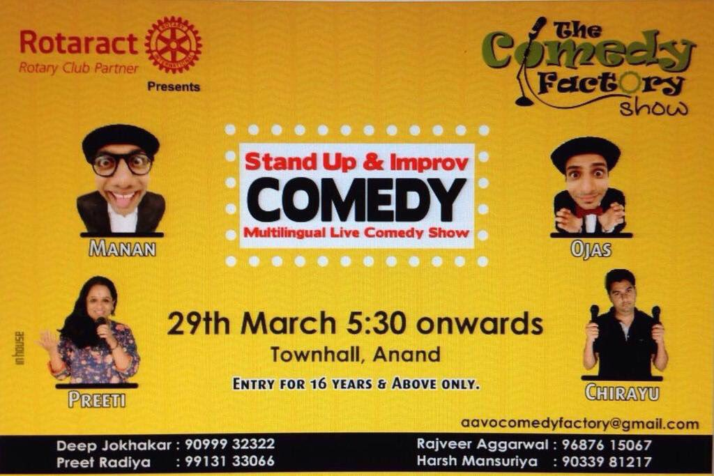 1st show in #Anand (Gujarat) today! #Standup & #ImprovComedy! Do come😀 Excited For This Time 😜 https://t.co/5nvhNxgQ6v