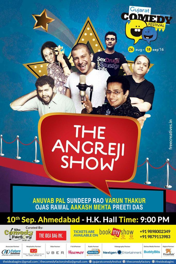 Tonight! #AHMEDABAD! Get the best of witty & intellectual English #comedy! 😋 Tkts @ venue or https://t.co/iH6AjSfNjV https://t.co/uWTdvL3n1L
