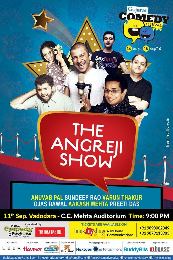 Don't miss it #VADODARA 🎇 Laugh riot of English Standup Comedy tonite! See ya'll @ 9 @ CCMehta!😁  #gujarat #fun #lol https://t.co/a5ROaIkgFW
