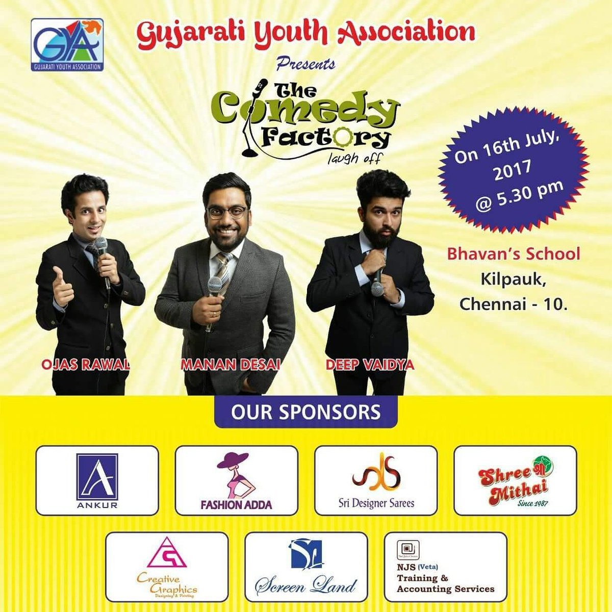 In #CHENNAI tonite wit @mananspeaks & @nautankideep frm @ComedyFactoryIn for #Gujarati #Youth Association show 😎 #standupcomedy #improv #tcf https://t.co/qEh3ooTPZY
