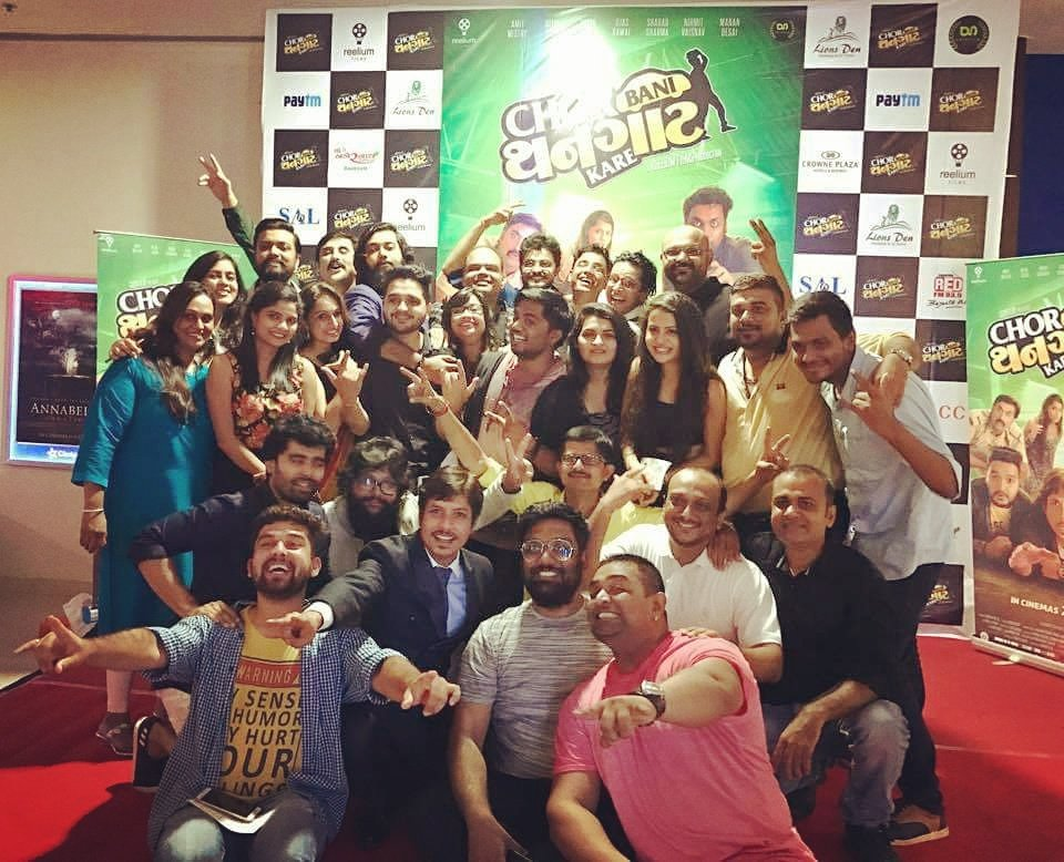 Team CHOR BANI THANGAAT KARE at #film #Premiere last nite 😎 Hyper-excited aftr the show!  @CBTK_TheMovie releases #TODAY 🤘  #gujarati #movie https://t.co/whEQrKf53O